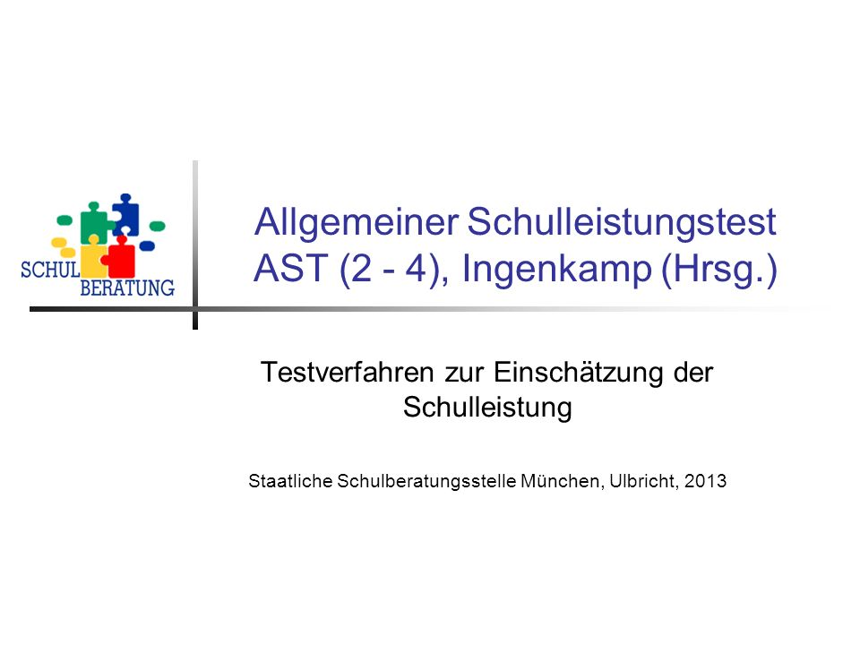 Allgemeiner Schulleistungstest AST (2 - 4), Ingenkamp (Hrsg.)