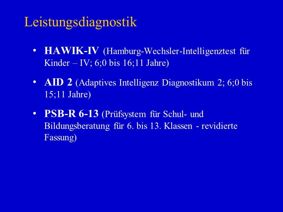 Leistungsdiagnostik HAWIK-IV (Hamburg-Wechsler-Intelligenztest für Kinder – IV; 6;0 bis 16;11 Jahre)