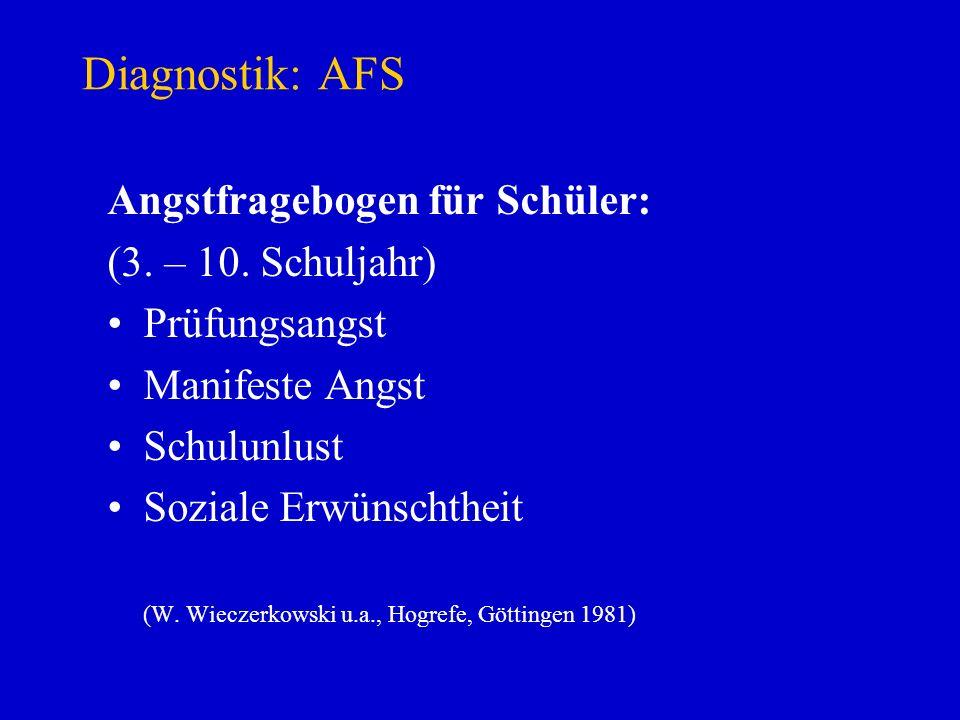 Diagnostik: AFS Angstfragebogen für Schüler: (3. – 10. Schuljahr)