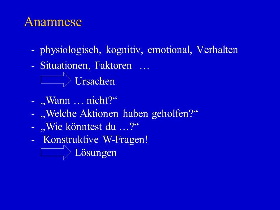 Anamnese physiologisch, kognitiv, emotional, Verhalten