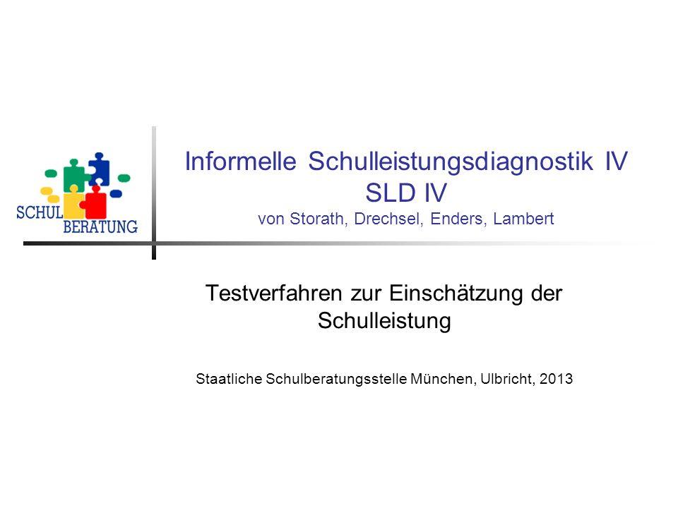 Informelle Schulleistungsdiagnostik IV SLD IV von Storath, Drechsel, Enders, Lambert