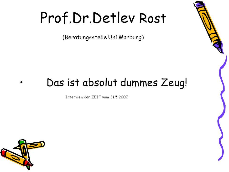 Prof.Dr.Detlev Rost (Beratungsstelle Uni Marburg)