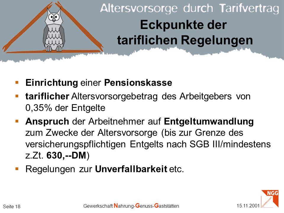 Eckpunkte der tariflichen Regelungen