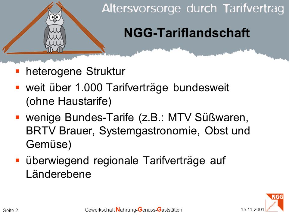 NGG-Tariflandschaft heterogene Struktur