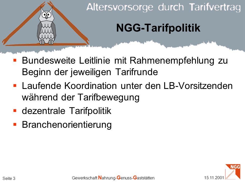NGG-Tarifpolitik Bundesweite Leitlinie mit Rahmenempfehlung zu Beginn der jeweiligen Tarifrunde.