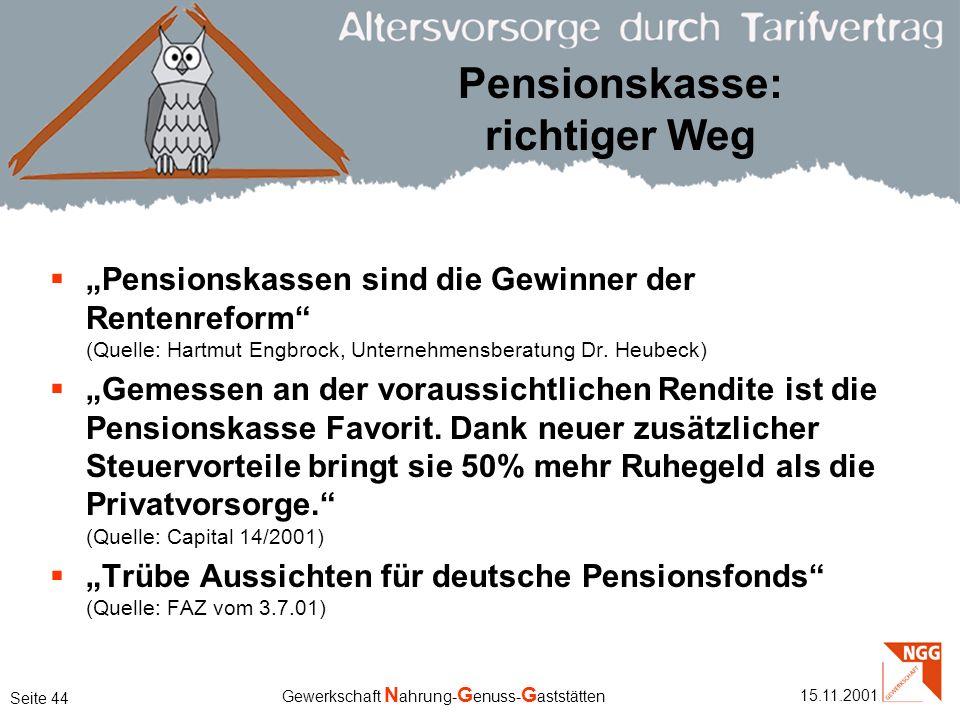Pensionskasse: richtiger Weg