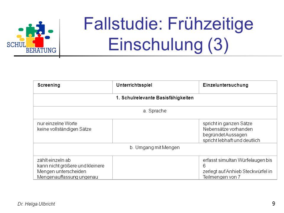 Fallstudie: Frühzeitige Einschulung (3)