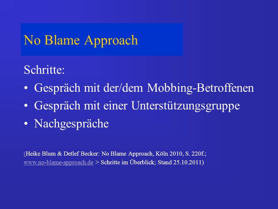 No Blame Approach Schritte: Gespräch mit der/dem Mobbing-Betroffenen