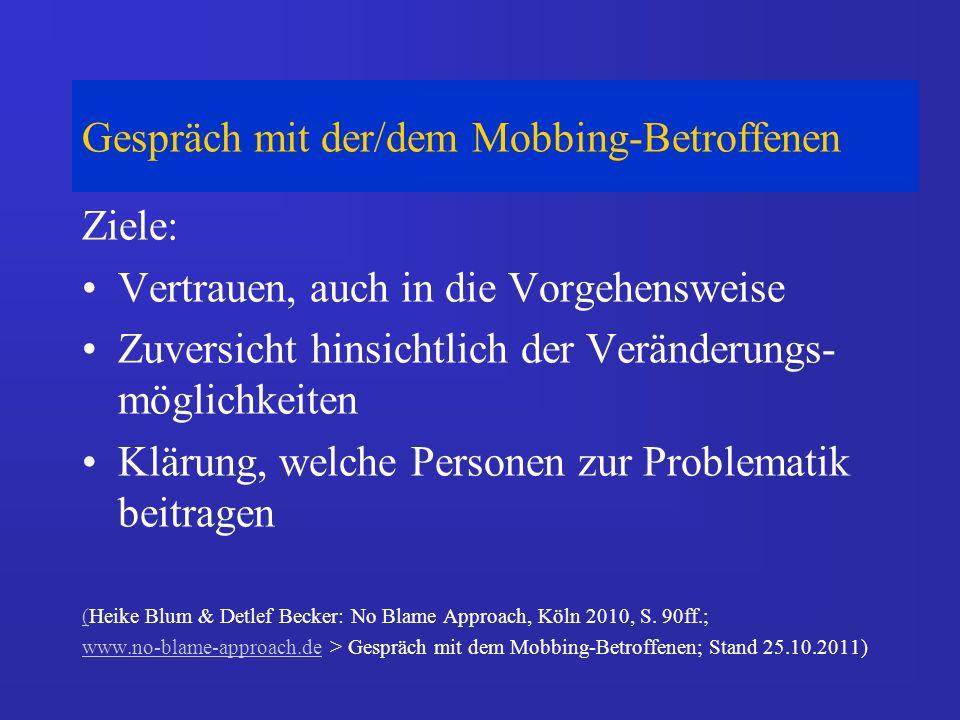 Gespräch mit der/dem Mobbing-Betroffenen