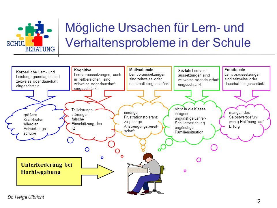 Mögliche Ursachen für Lern- und Verhaltensprobleme in der Schule