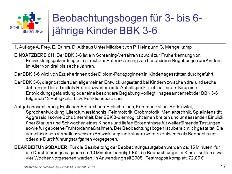 Beobachtungsbogen für 3- bis 6-jährige Kinder BBK 3-6