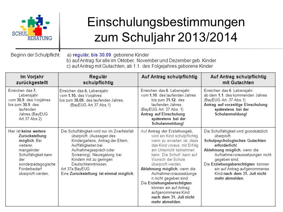 Einschulungsbestimmungen zum Schuljahr 2013/2014