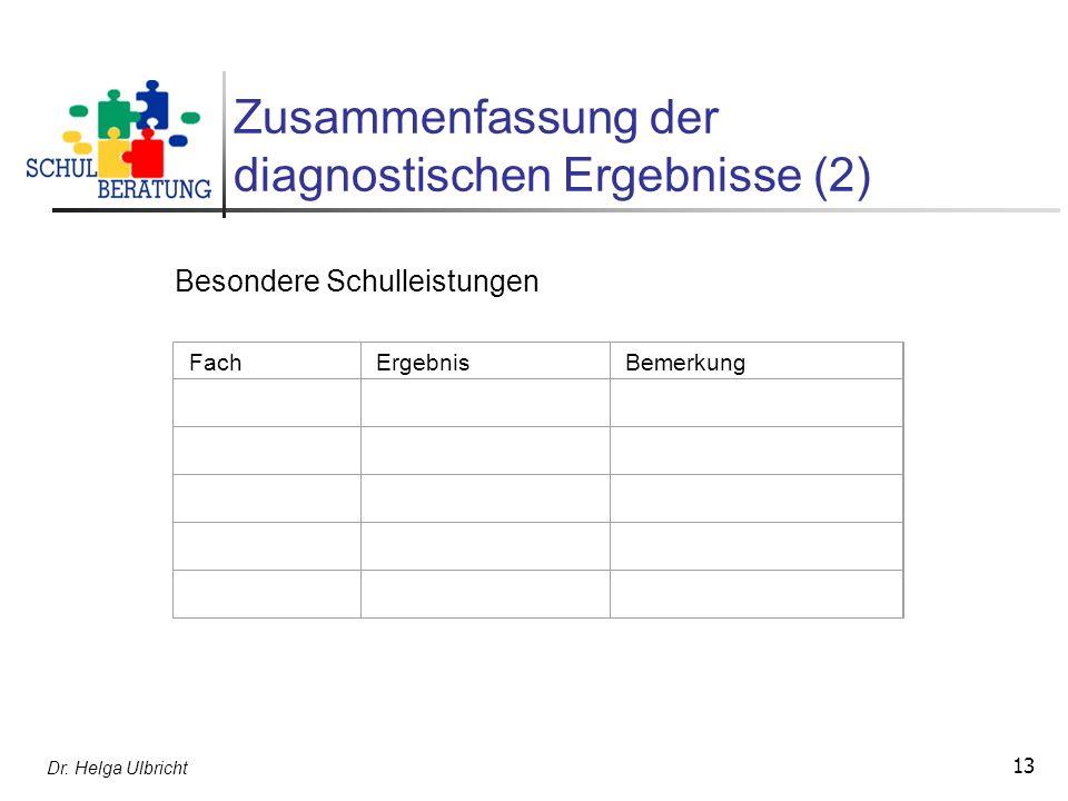Zusammenfassung der diagnostischen Ergebnisse (2)