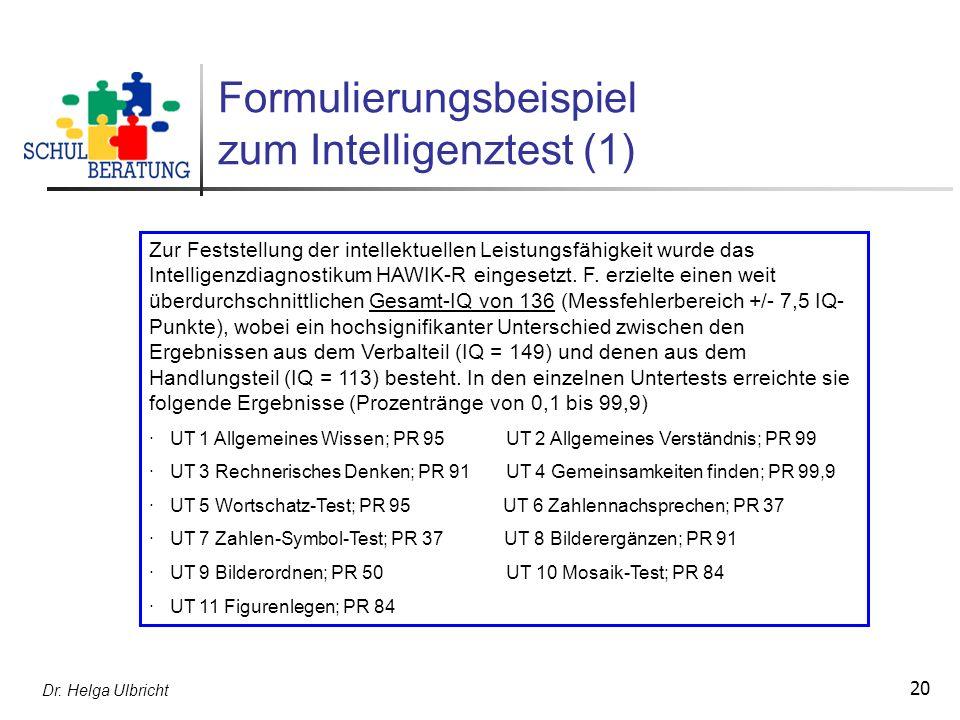 Formulierungsbeispiel zum Intelligenztest (1)