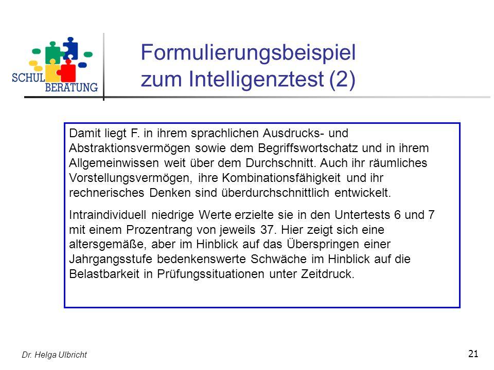 Formulierungsbeispiel zum Intelligenztest (2)