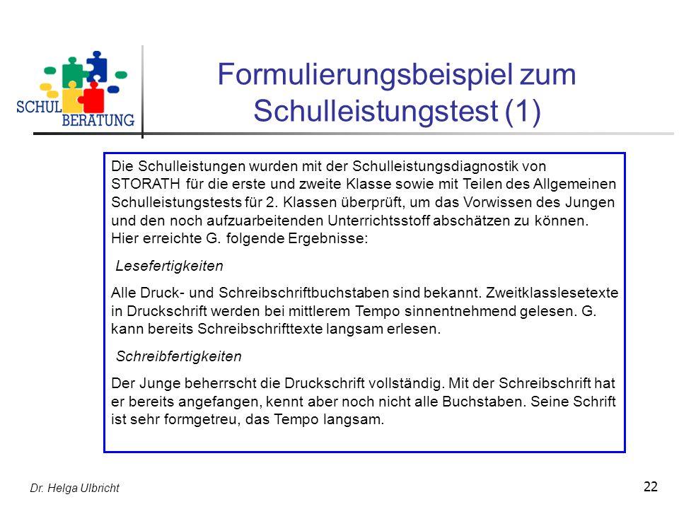 Formulierungsbeispiel zum Schulleistungstest (1)