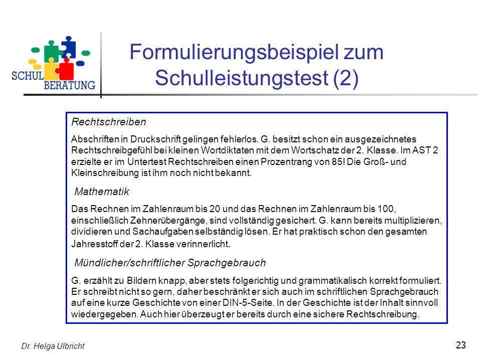 Formulierungsbeispiel zum Schulleistungstest (2)