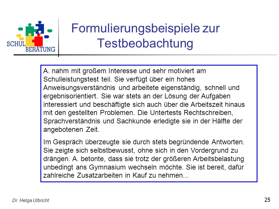 Formulierungsbeispiele zur Testbeobachtung