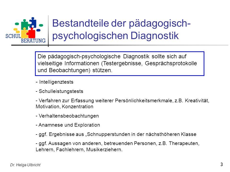Bestandteile der pädagogisch-psychologischen Diagnostik