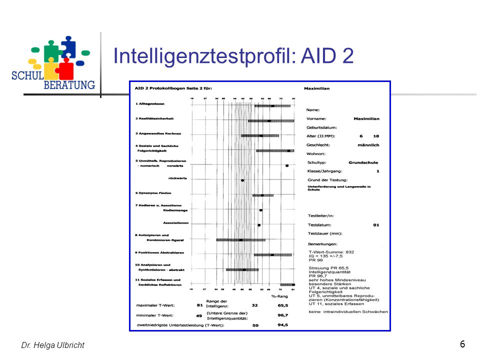 Intelligenztestprofil: AID 2