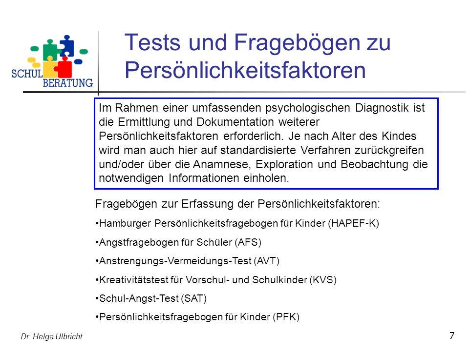 Tests und Fragebögen zu Persönlichkeitsfaktoren