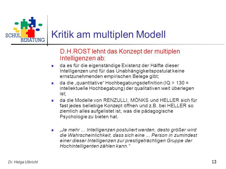 Kritik am multiplen Modell