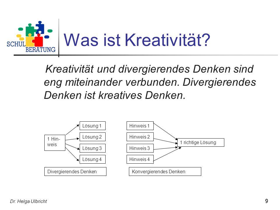 Was ist Kreativität Kreativität und divergierendes Denken sind eng miteinander verbunden. Divergierendes Denken ist kreatives Denken.