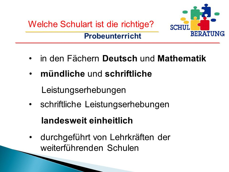 in den Fächern Deutsch und Mathematik