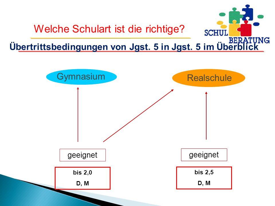 Übertrittsbedingungen von Jgst. 5 in Jgst. 5 im Überblick