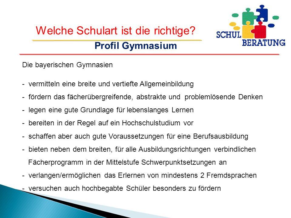 Profil Gymnasium Die bayerischen Gymnasien