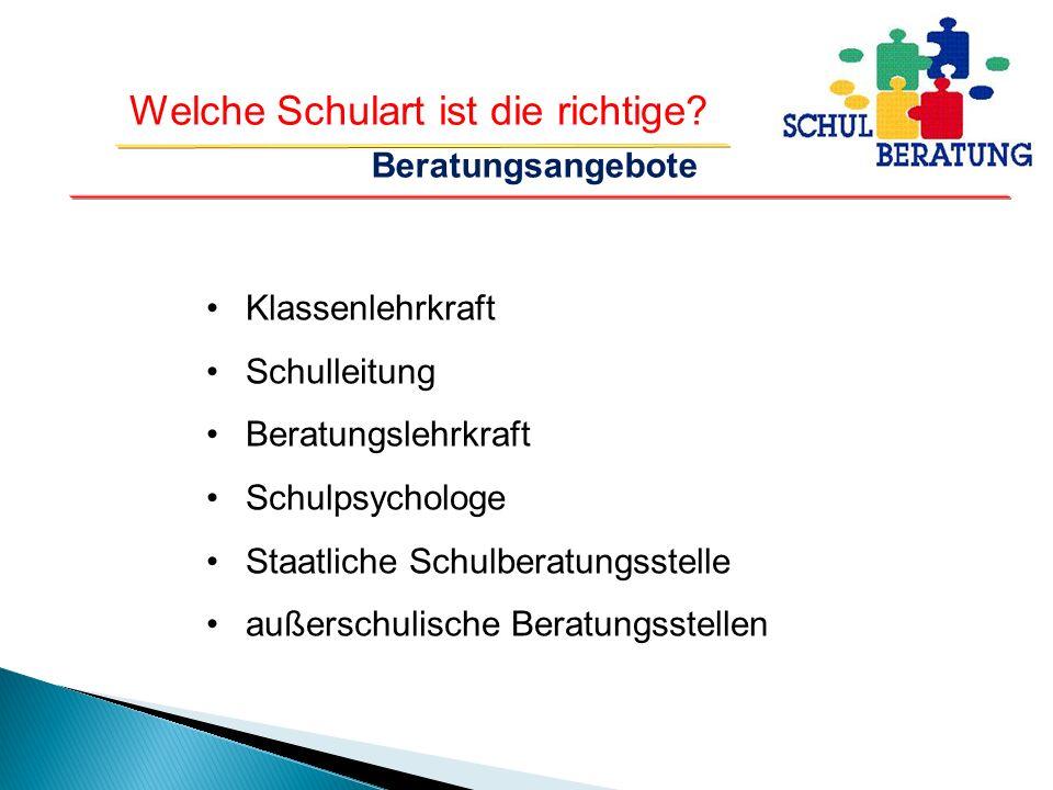 Beratungsangebote Klassenlehrkraft. Schulleitung. Beratungslehrkraft. Schulpsychologe. Staatliche Schulberatungsstelle.