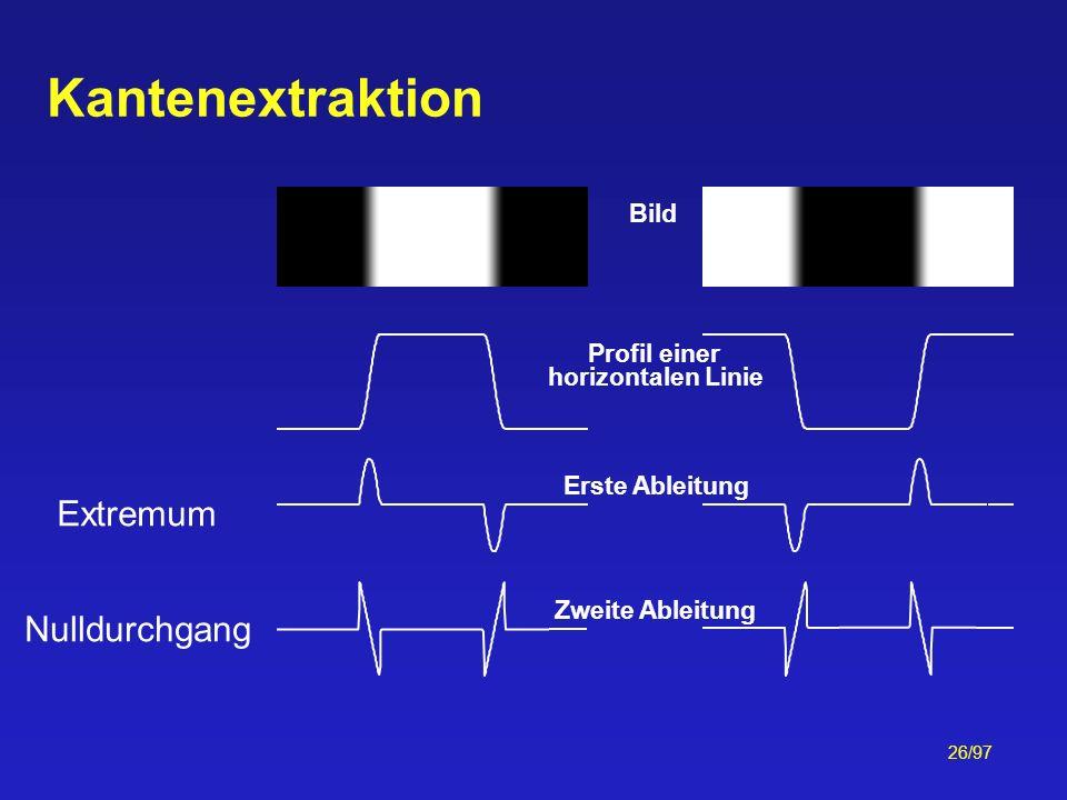 Kantenextraktion Extremum Nulldurchgang Bild Profil einer