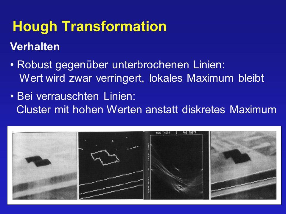 Hough Transformation Verhalten Robust gegenüber unterbrochenen Linien: