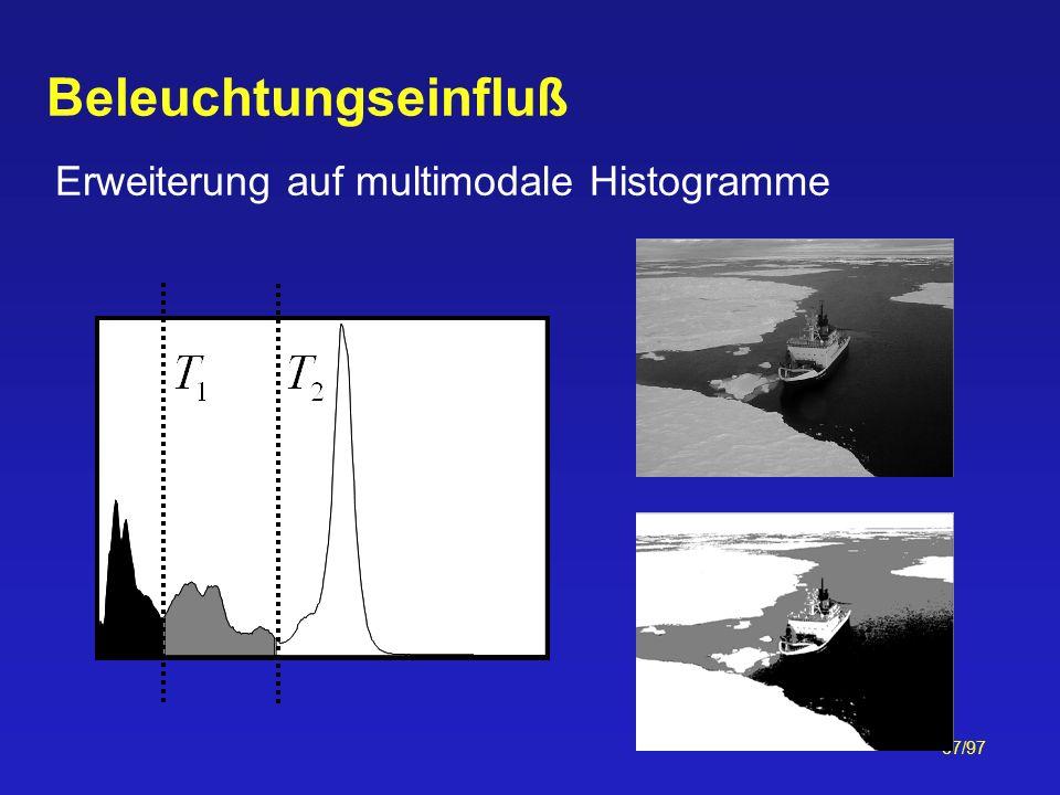 Beleuchtungseinfluß Erweiterung auf multimodale Histogramme
