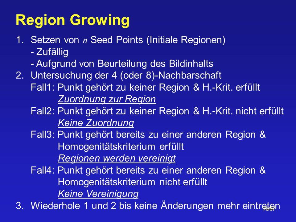 Region Growing Setzen von n Seed Points (Initiale Regionen) - Zufällig - Aufgrund von Beurteilung des Bildinhalts.
