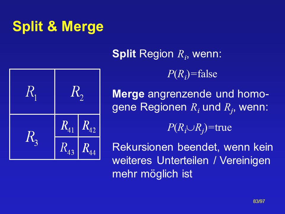 Split & Merge Split Region Ri, wenn: P(Ri)=false