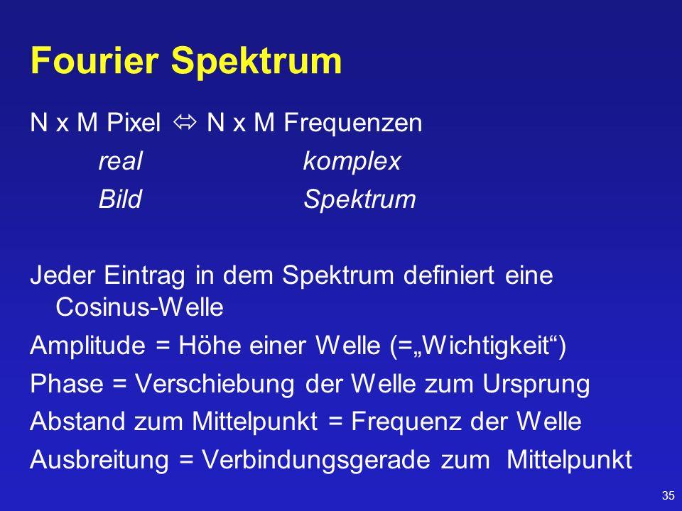 Fourier Spektrum N x M Pixel  N x M Frequenzen real komplex