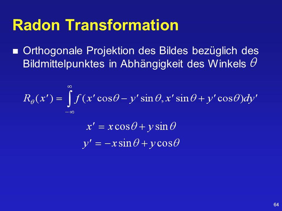 Radon Transformation Orthogonale Projektion des Bildes bezüglich des Bildmittelpunktes in Abhängigkeit des Winkels.