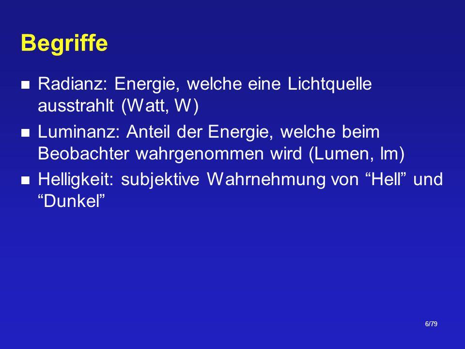 Begriffe Radianz: Energie, welche eine Lichtquelle ausstrahlt (Watt, W)