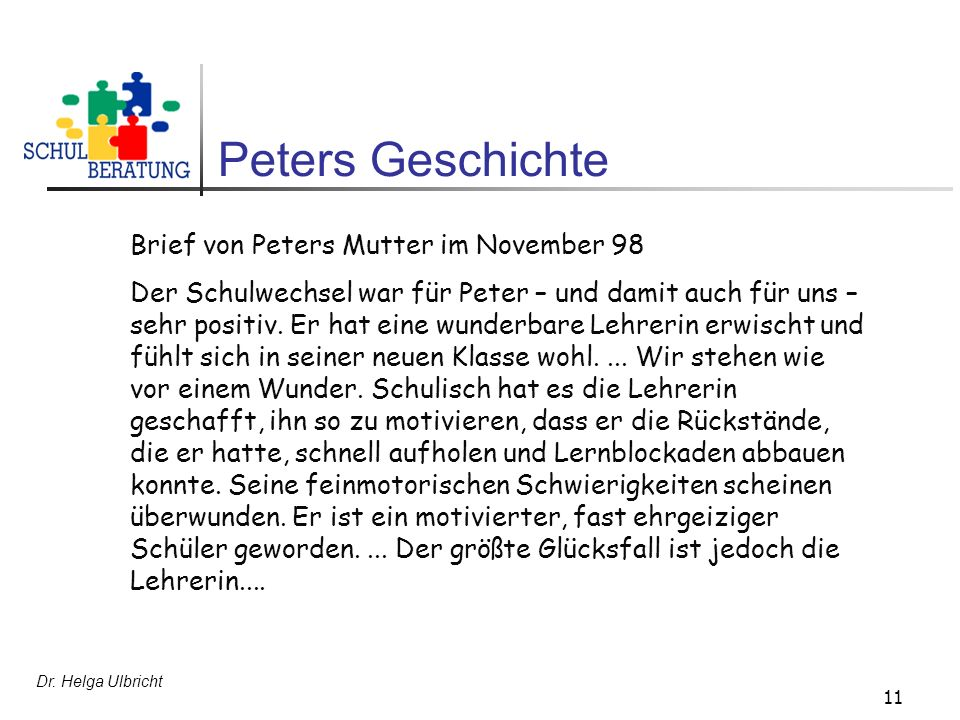 Peters Geschichte Brief von Peters Mutter im November 98