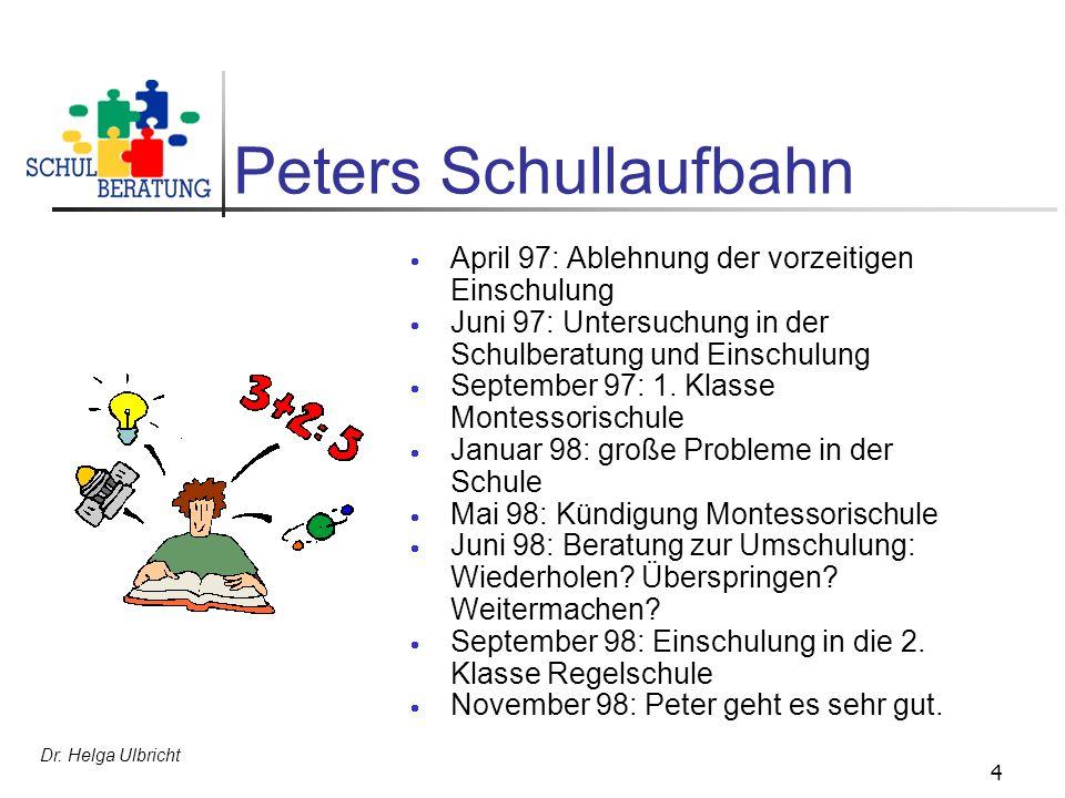 Peters Schullaufbahn April 97: Ablehnung der vorzeitigen Einschulung