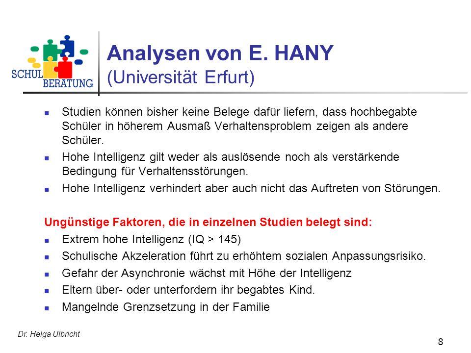 Analysen von E. HANY (Universität Erfurt)