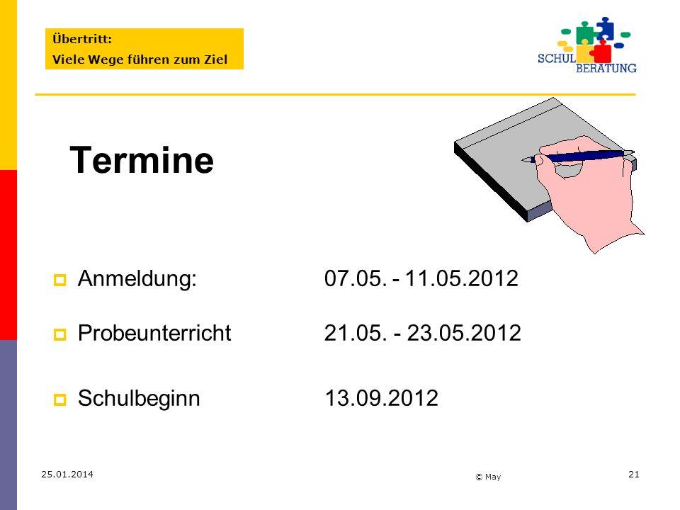 Übertritt:Viele Wege führen zum Ziel. Termine. Anmeldung: 07.05. - 11.05.2012. Probeunterricht 21.05. - 23.05.2012.