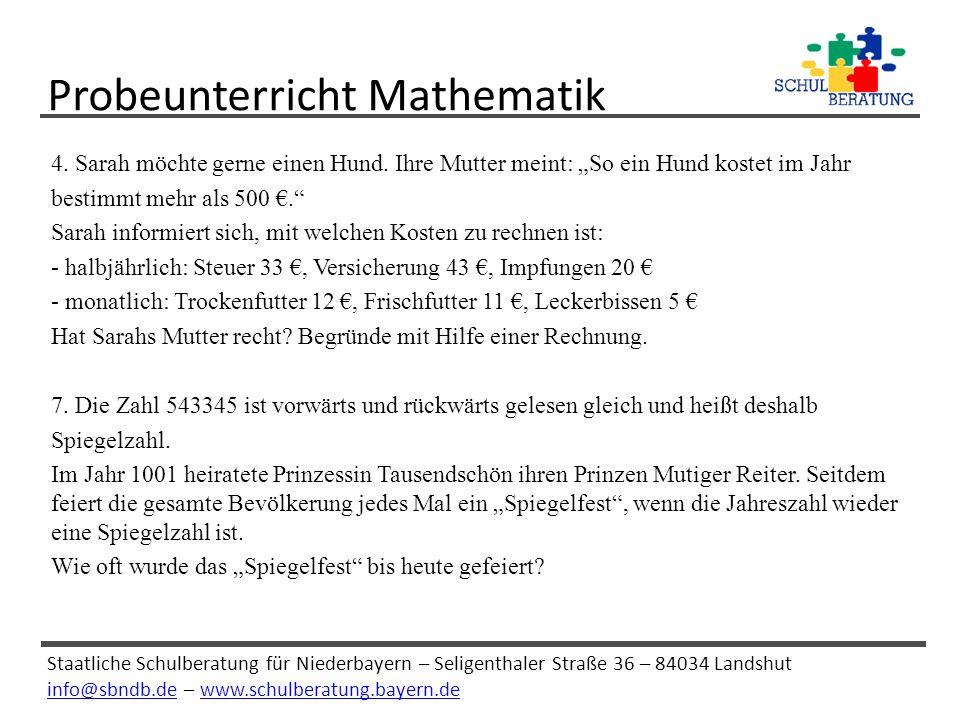 Probeunterricht Mathematik