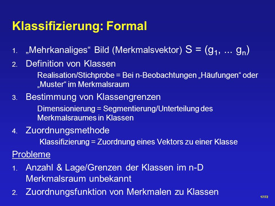 Klassifizierung: Formal
