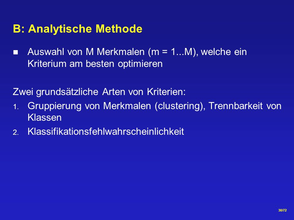 B: Analytische Methode