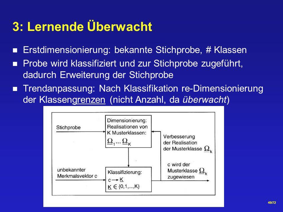 3: Lernende Überwacht Erstdimensionierung: bekannte Stichprobe, # Klassen.