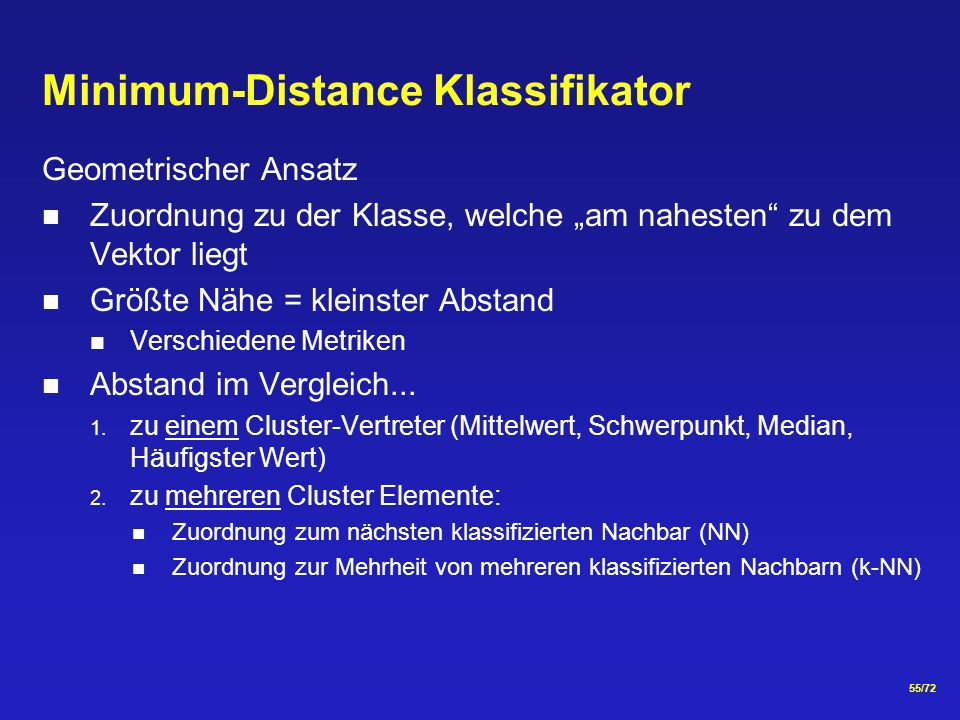 Minimum-Distance Klassifikator