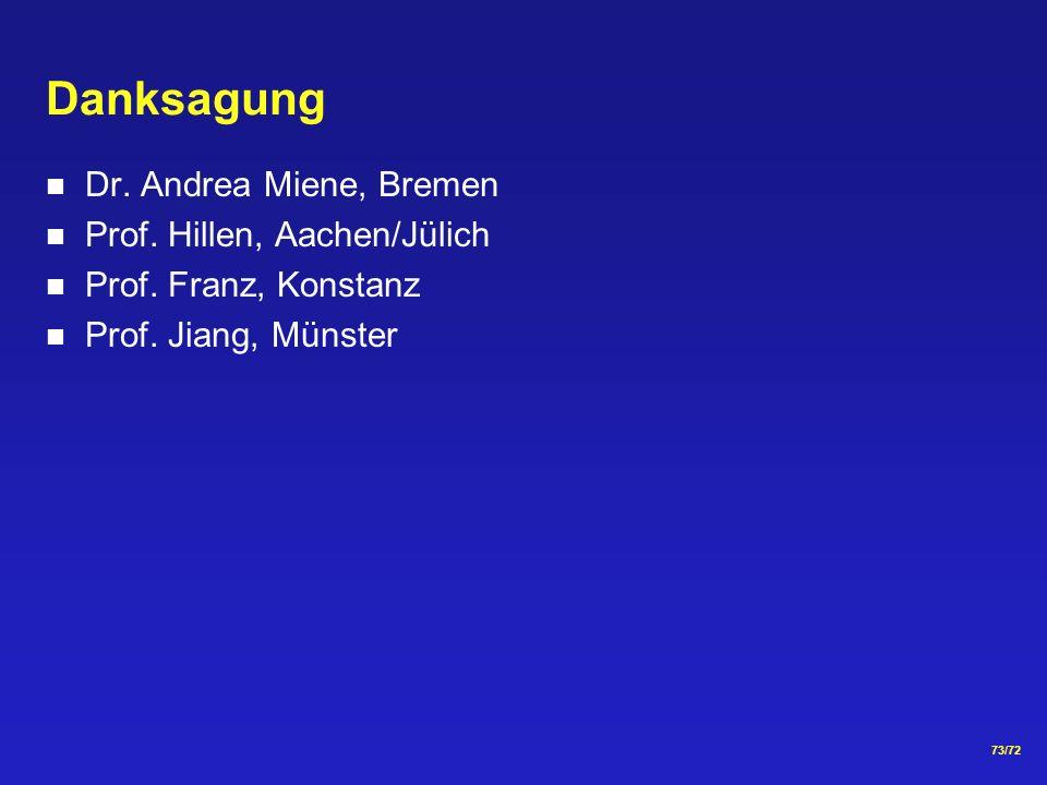 Danksagung Dr. Andrea Miene, Bremen Prof. Hillen, Aachen/Jülich