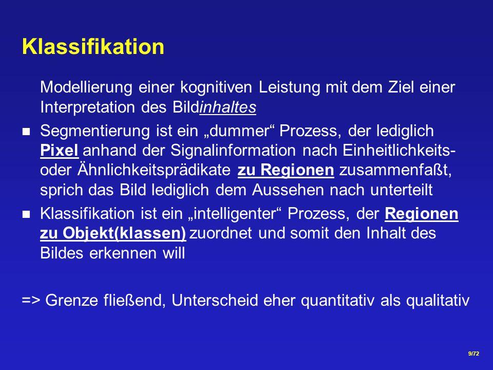 Klassifikation Modellierung einer kognitiven Leistung mit dem Ziel einer Interpretation des Bildinhaltes.